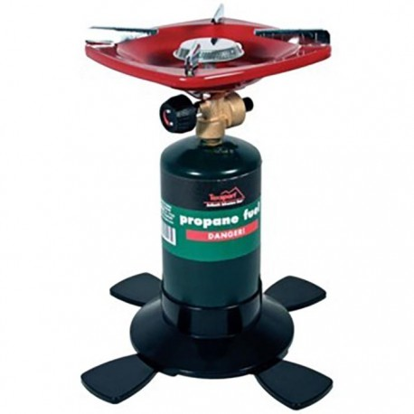 Camping with a rented one-burner propane stove