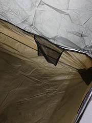 pockets inside rented backpacker's tent