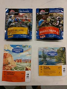 dehydrated meals to go with backpacking rentals
