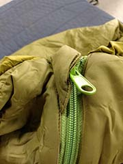 zippers on warm-weather backpacking sleeping bags for rent